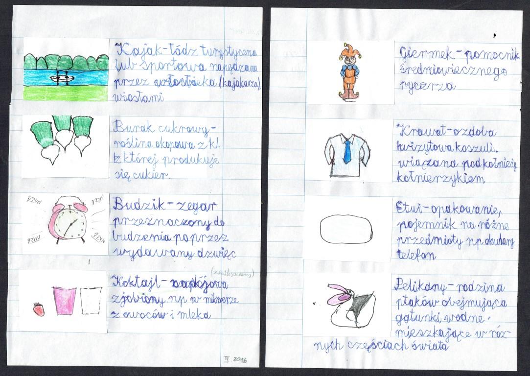 """II. Przykładowe tłumaczenia niezrozumiałych słówek podczas pracy, szczególnie wyłapane podczas rozwiązywania krzyżówek. Wszystkie karty pracy znajda się w zakładce """"Edukacja"""""""