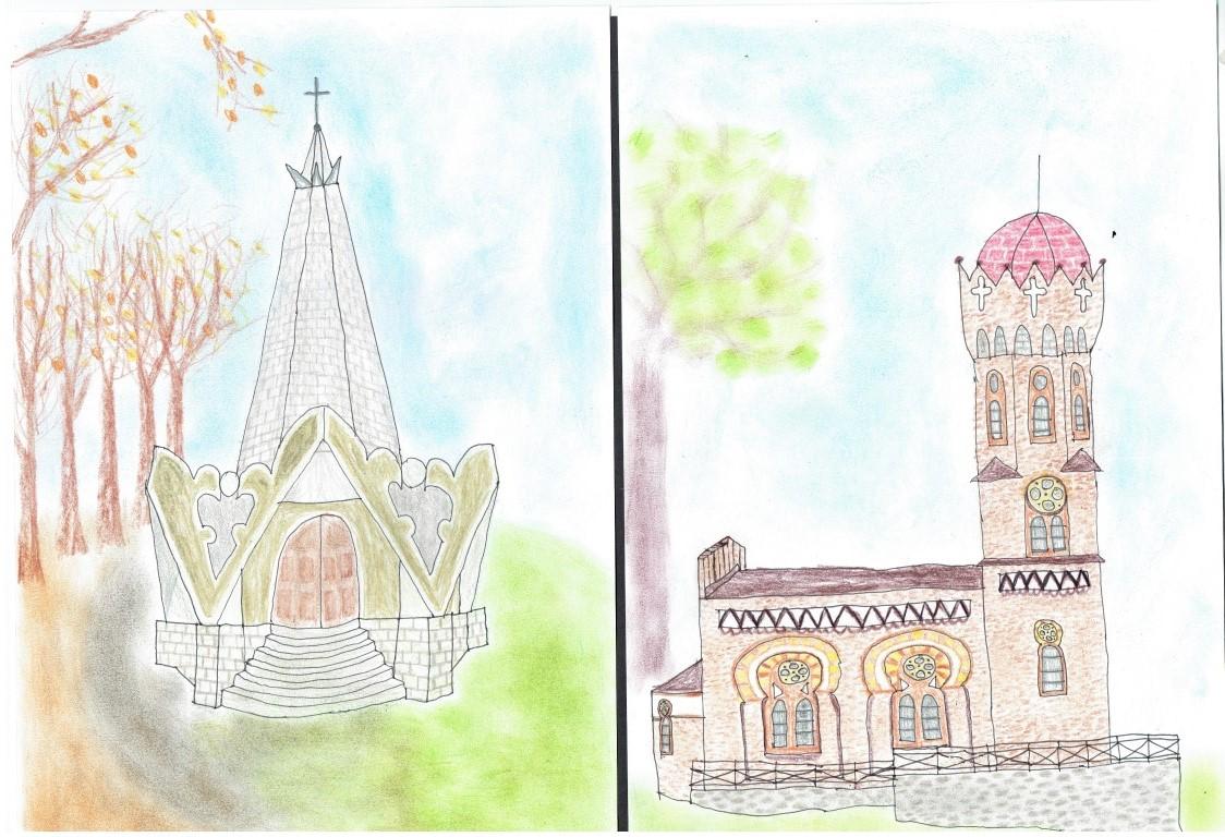 """26i27.II Kapliczki różańcowe w Bardzie. Dwie prace z serii 6-ciu rysunków, reszta będzie w """"Twórczym świecie autyzmu"""""""