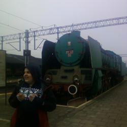 Zabytkowy Parowóz na stacji w Sławnie.