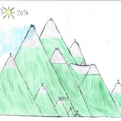 07.2014 r. Górki narysowane przez Łukasza w skali 1:100 i jest to okładka końcowa do albumu wakacyjnego z 2014 r. Blok-A4