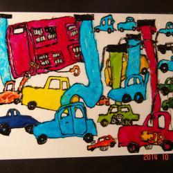 """Z przeszłości galerii prac Łukasza mamy kilka perełek i to jest jedna z nich, czyli witraż z pojazdami z bajki pt. """"Auta""""."""