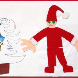 Mikołaj w pracach Łukasza pojawia się przeważnie bez brody (czyżby znał jakąś ukrytą prawdę ?). Praca z Mikołajem i koparką wykonanie Łukasza .